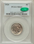 Buffalo Nickels: , 1924 5C MS64 PCGS. CAC. PCGS Population (398/286). NGC Census:(247/141). Mintage: 21,620,000. Numismedia Wsl. Price for pr...