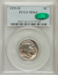 Buffalo Nickels: , 1929-D 5C MS64 PCGS. CAC. PCGS Population (502/209). NGC Census:(328/71). Mintage: 8,370,000. Numismedia Wsl. Price for pr...