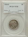 Buffalo Nickels: , 1924-S 5C VF20 PCGS. PCGS Population (108/598). NGC Census:(84/436). Mintage: 1,437,000. Numismedia Wsl. Price for problem...