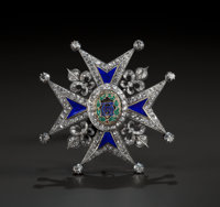 A SILVERED GOLD, DIAMOND AND ENAMEL COMMANDER'S BREAST PIN OF THE ORDER OF CHARLES III Maker unknown, Spain, circ