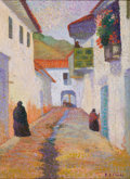 Latin American, RICARDO E. FLOREZ (Peruvian, 1889-1981). Street withFigures. Oil on canvas. 13-1/2 x 10 inches (34.3 x 25.4 cm).Signed...