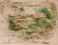 ZAO WOU-KI (Chinese, b. 1921) Les Poissons, 1953 Color lithograph 17-1/8 x 22-1/2 inches (43.4 x