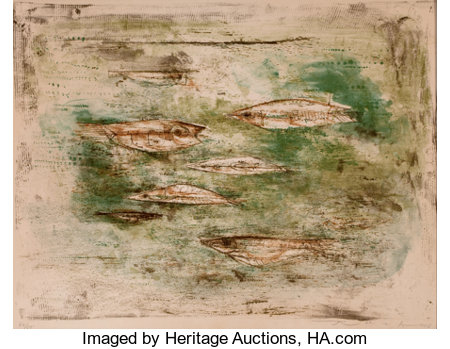 ZAO WOU-KI (Chinese, b. 1921) Les Poissons, 1953 Color lithograph 17-1/8 x 22-1/2 inches (43.4 x 57.2 cm) Ed. 44/55...
