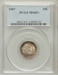 Barber Dimes: , 1907 10C MS65+ PCGS. PCGS Population (42/13). NGC Census: (43/42).Mintage: 22,220,576. Numismedia Wsl. Price for problem f...
