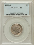 Buffalo Nickels: , 1920-S 5C AU50 PCGS. PCGS Population (34/585). NGC Census: (5/500).Mintage: 9,689,000. Numismedia Wsl. Price for problem f...