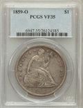 Seated Dollars: , 1859-O $1 VF35 PCGS. PCGS Population (19/694). NGC Census: (7/467).Mintage: 360,000. Numismedia Wsl. Price for problem fre...