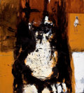 Latin American:Contemporary, AMILCAR CHACÓN (Cuban, 20th Century). Abstract 6 (Orange andBlack Abstract with Figure), 2007. Mixed media on canvas. 3...