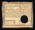 Colonial Notes:New Hampshire, New Hampshire April 29, 1780 $3 Very Fine, HOC.. ...
