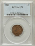 Indian Cents: , 1885 1C AU58 PCGS. PCGS Population (21/138). NGC Census: (36/518).Mintage: 11,765,384. Numismedia Wsl. Price for problem f...