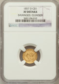 Gold Dollars: , 1857-D G$1 -- Cleaned, Damaged -- NGC Details. XF. NGC Census:(2/78). PCGS Population (6/93). Mintage: 3,500. Numismedia W...