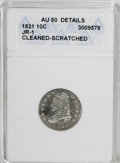 Bust Dimes, 1821 10C Large Date--Cleaned, Scratched--ANACS. AU50 Details. JR-1. NGC Census: (8/145). PCGS Population (14/105). Mintage:...