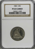Proof Seated Quarters, 1863 25C PR63 Cameo NGC....