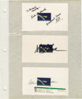 "Autographs:Celebrities, Shuttle Astronauts Autographed Stamps. Comprises seven 5"" x 3""index cards, each bearing the 4¢ Project Mercury stamp, each ...(Total: 1 Item)"