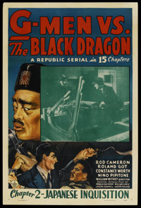 "G-Men vs. the Black Dragon (Republic, 1943). One Sheet (27"" X 41"") Chapter 2 -- ""Japanese Inquisition.&qu..."