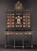 Furniture : Continental, A Spanish Tortoiseshell, Ivory, Rosewood and Brass Cabinet onStand. Unknown maker, Spanish. Circa 1850-1880. Tortoiseshel...