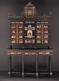 A Spanish Tortoiseshell, Ivory, Rosewood and Brass Cabinet on Stand  Unknown maker, Spanish Circa 1850-1880<