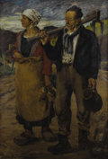 Fine Art - Painting, European:Modern  (1900 1949)  , Wilhelm Hans Burger-Willing (Germany, 1882-1966). . Peasant Man and Woman. Circa 1920-1940. Oil on canvas. S...