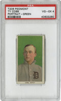 Baseball Cards:Singles (Pre-1930), 1909-11 T206 Ty Cobb Green Portrait PSA VG-EX 4. The most valuableof the immortal Ty Cobb's entries in the mighty T206 tob...