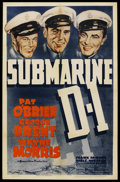 "Movie Posters:War, Submarine D-1 (Warner Brothers, 1937). One Sheet (27"" X 41""). War...."