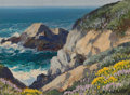 American:Modern, CARL SAMMONS (American, 1883-1968). Carmel by the Sea. Oilon artists' board. 6 x 8 inches (15.2 x 20.3 cm). Signed lowe...
