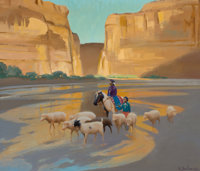 GERARD CURTIS DELANO (American, 1890-1972) In Way Down Yonder Land (Canyon de Chelly) Oil on masonit
