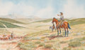Works on Paper, BYRON B. WOLFE (American, 1904-1973). Heading for New Pastures, 1922. Watercolor on paper. 9 x 13 inches (22.9 x 33.0 cm...