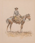 Works on Paper, OLAF WIEGHORST (American, 1899-1988). Horse and Rider. Watercolor, pen, and ink on paper. 10-1/2 x 8-1/2 inches (26.7 x ...