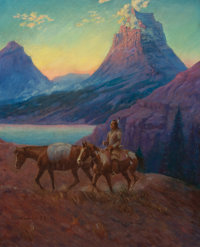 M. LONE WOLF (American, 1882-1970) Apache on Horseback at Sunset Oil on canvas 27 x 22 inches (68