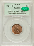 Lincoln Cents: , 1927-D 1C MS65 Red and Brown PCGS. CAC. PCGS Population (52/3). NGCCensus: (50/2). Mintage: 27,170,000. Numismedia Wsl. Pr...