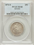 Seated Quarters: , 1874-S 25C Arrows XF40 PCGS. PCGS Population (9/205). NGC Census:(4/140). Mintage: 392,000. Numismedia Wsl. Price for prob...