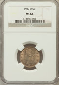 Liberty Nickels: , 1912-D 5C MS64 NGC. NGC Census: (306/114). PCGS Population(287/172). Mintage: 8,474,000. Numismedia Wsl. Price for problem...