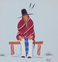 JEROME RICHARD TIGER (American, 1941-1967) Man on Bench, 1964 Tempera on paper 9 x 8 inches (22.9