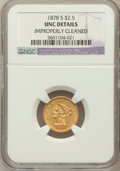 Liberty Quarter Eagles, 1878-S $2 1/2 -- Improperly Cleaned -- NGC Details. UNC. NGCCensus: (28/295). PCGS Population (3/148). Mintage: 178,000. N...