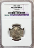 Proof Barber Quarters: , 1904 25C -- Stained -- NGC Details. Proof. NGC Census: (0/230).PCGS Population (5/233). Mintage: 670. Numismedia Wsl. Pric...