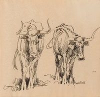 EDWARD BOREIN (American, 1873-1945) Longhorns Pen and ink on paper 8 x 8 inches (20.3 x 20.3 cm)<