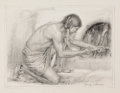 Works on Paper, HENRY C. BALINK (American, 1882-1963). The Fire Maker. Pencil on paper. Image: 6 x 8 inches (15.2 x 20.3 cm). Signed low...