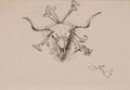 Works on Paper, CHARLES MARION RUSSELL (American, 1864-1926). Heraldry of the Range, (Longhorn Steer Skull and Five Branding Irons), 1925 ...