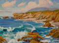 American:Western, ANNA ALTHEA HILLS (American, 1882-1930). California Coastline(Painted from Conway Griffith Highway Sign, Irvine). Oil o...