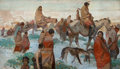 Paintings, HERBERT MORTON STOOPS (American, 1888-1948). Indians on the March, Winter. Oil on canvas. 26 x 45 inches (66.0 x 114.3 c...