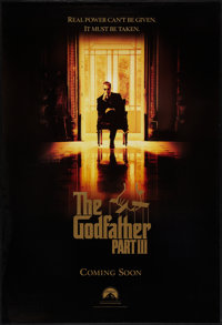 "The Godfather Part III (Paramount, 1990). One Sheet (27"" X 40"") SS Advance. Crime"