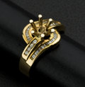Estate Jewelry:Rings, 18k Gold & Diamond Ring Ready For A Center Stone. ...