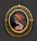 Estate Jewelry:Brooches - Pins, Exquisite Sing 18k Gold & Enamel Pin. ...
