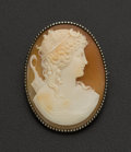 Estate Jewelry:Cameos, Shell Gold Cameo Brooch. ...