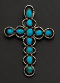 Estate Jewelry:Pendants and Lockets, Large Turquoise & Silver Cross Pendant. ...