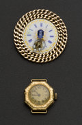 Estate Jewelry:Brooches - Pins, Blue Sapphire & Pearls Watch Pin & 14k Watch. ... (Total: 2 Items)