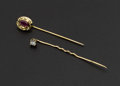 Estate Jewelry:Stick Pins and Hat Pins, Two Gold Diamond & Ruby Stick Pins. ... (Total: 2 Item)