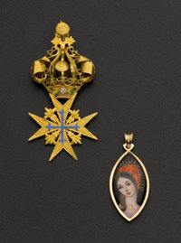 Two 18k Gold & Enamel Pendants