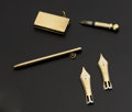 Estate Jewelry:Other , 18k Gold Flint Striker & Pencil & Two Montblanc Vintage 18k Gold Pen Tips. ... (Total: 4 Items)