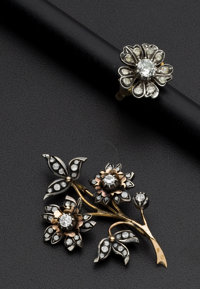 Mallorca Floral Spray Brooch & Ring