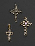 Estate Jewelry:Pendants and Lockets, Three Gold Crosses. ... (Total: 3 Items)